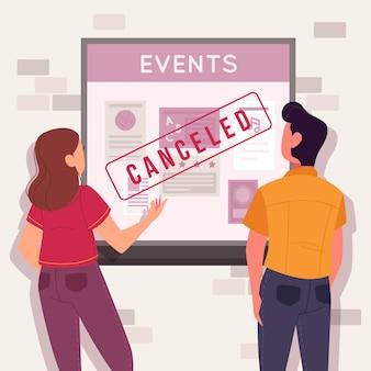 Annuncio di eventi annullato