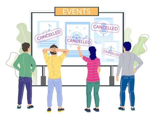 Eventi annullati a causa della pandemia del virus corona, illustrazione piatta