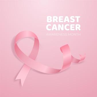 Consapevolezza del cancro con nastro rosa realistico