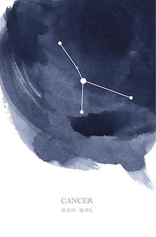 Illustrazione dell'acquerello di astrologia della costellazione del cancro. simbolo dell'oroscopo del cancro fatto di scintillii e linee di stelle.