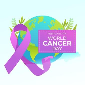Nastro di giorno del cancro con testo e globo terrestre Vettore Premium