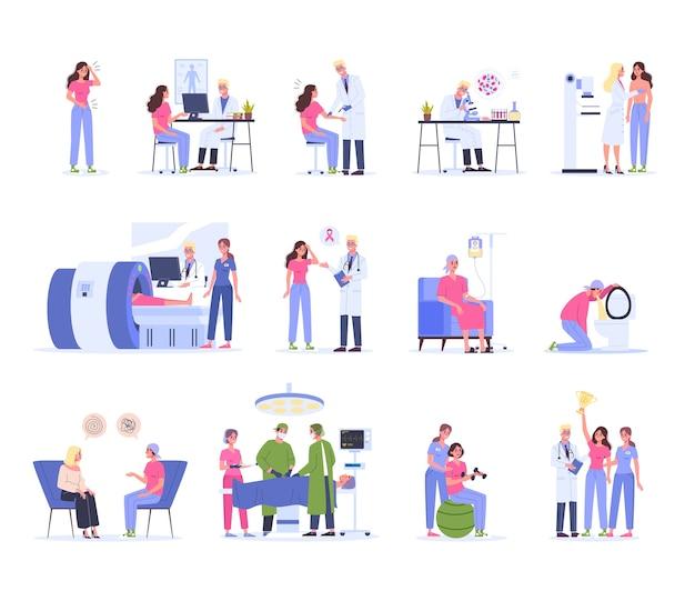 Diagnostica, trattamento e riabilitazione del cancro. terapia medica ospedaliera, personaggio femminile con trattamento chemio e chirurgia. la donna vince un cancro. illustrazione