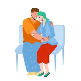 Malattia del cancro ragazza ragazzo di supporto in ospedale vettore. marito che sostiene la giovane moglie della malattia del cancro in clinica piangere personaggi uomo e donna visita medico per chemioterapia piatto fumetto illustrazione