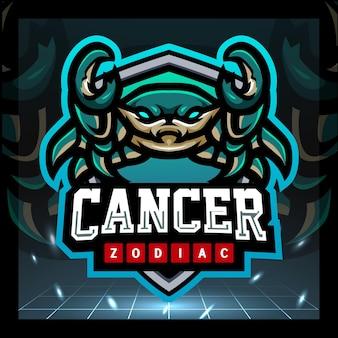 Design del logo esport della mascotte dello zodiaco del cancro