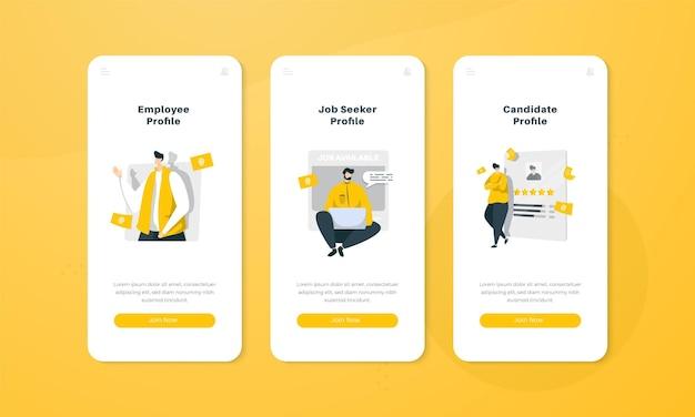 Illustrazione del profilo del candidato sul concetto di interfaccia dello schermo di bordo