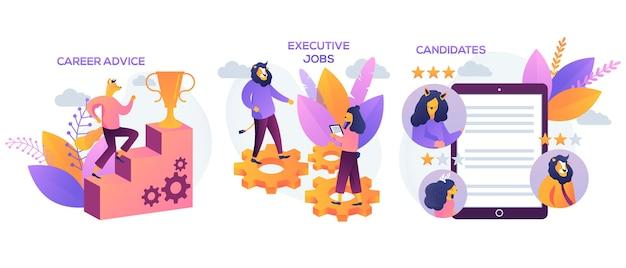 Candidati, consigli di carriera, metafore di lavori esecutivi