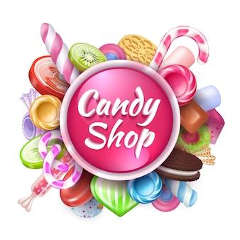 Sfondo di caramelle. cornice realistica di dolci e dessert con testo, caramelle colorate lecca-lecca e bonbon al caramello