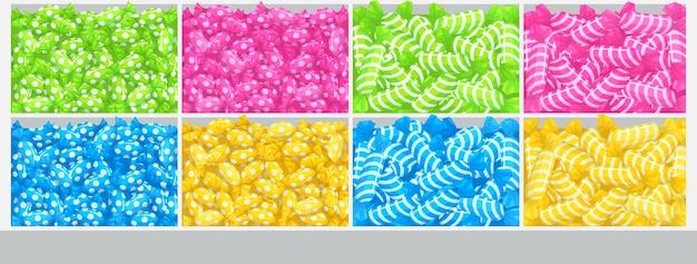 Caramelle sugli scaffali del supermercato, illustrazione di scatole con una pila di caramello e bonbon