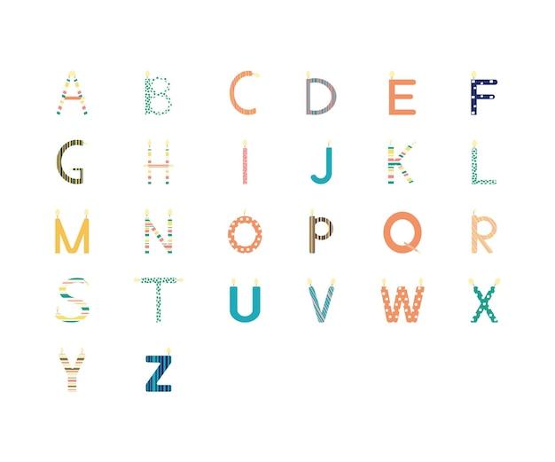 Elemento di disegno dell'illustrazione di vettore di isoleted della collezione di alfabeto della candela. carattere di festa di compleanno. stile scandinavo. lettere inglesi. concetto di evento.
