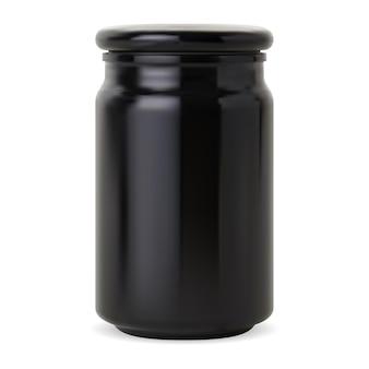 Bottiglia di candela. vaso da farmacia in vetro nero, mockup di imballaggio lucido in cera cosmetica. contenitore per pillole di supplemento, elegante contenitore per sale, bottiglia di medicina vintage