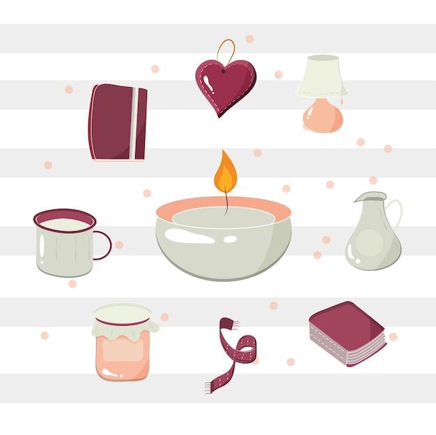 Candela, tazza di caffè, cuore, libro, sciarpa, barattolo di marmellata, teiera e nastro