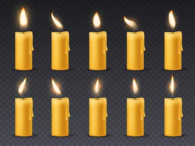 Animazione a fiamma di candela. le candele brucianti della cera romantica romantica a lume di candela di festa si chiudono sulla cena calda del fuoco isolata