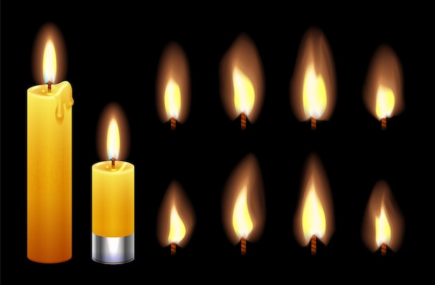 Fiamma di candela. candele di cera accese, luci e fiamme.