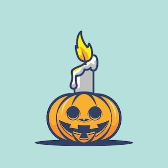 Illustrazione del fumetto della zucca di halloween della candela
