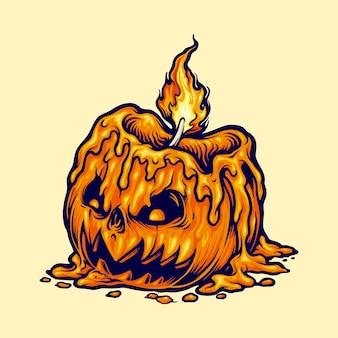 Illustrazioni della zucca di halloween della testa della candela