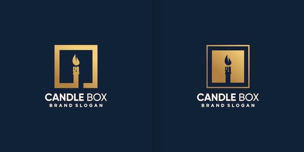 Logo della candela all'interno del modello della scatola vettore premium
