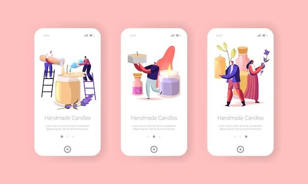 Candela che fa modello di schermata della pagina dell'app mobile hobby fatta a mano.