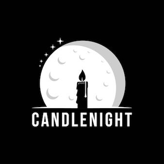 Modello di progettazione di logo di notte di candela.