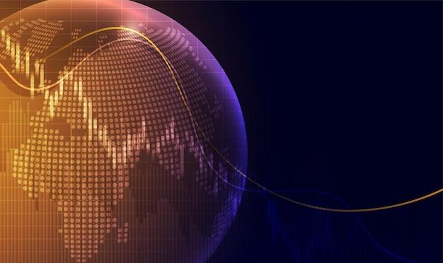 Grafico del grafico a bastoncino di candela del trading di investimenti nel mercato azionario punto rialzista punto ribassista
