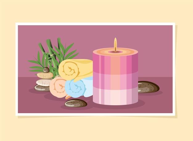 Asciugamani e pietre per candele