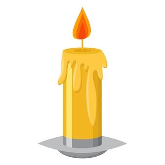 Candela con la fiamma in un candeliere e un'illustrazione del fumetto di vettore di cera di fusione isolata