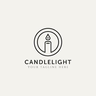 Lume di candela minimalista linea arte logo icona modello illustrazione vettoriale design