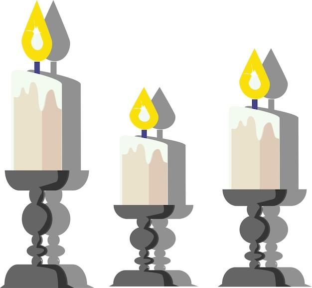 Candele in candelieri candelieri vintage illustrazione vettoriale su sfondo bianco