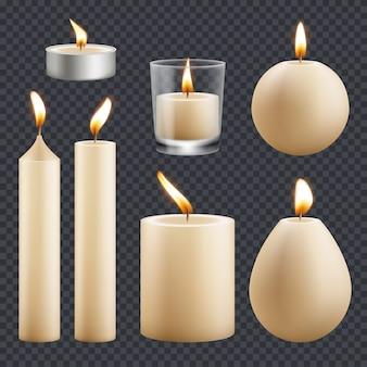 Collezione di candele. candele di cera di celebrazione di compleanno decorativi fiamma diversi tipi vettoriali immagini realistiche. candela realistica per la religione o l'illustrazione decorativa di compleanno