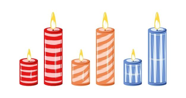 Collezione di candele isolato su sfondo bianco. concetto di natale. design piatto. stile cartone animato.