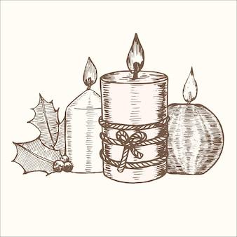 Gruppo di candele per carta a mano disegnare schizzo vecchia decorazione e design retrò. illustrazione vettoriale