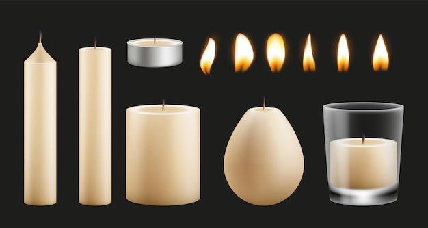 Disegno del kit di candele. base di cera realistica di diverse forme e fiamme. insieme di vettore di luci accese. illustrazione della candela del fuoco, realistica a lume di candela