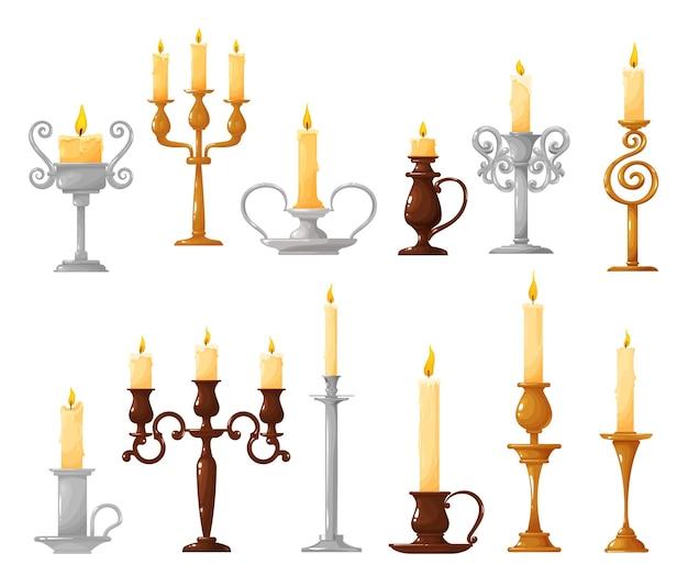 Candeliere con cartone animato candela accesa
