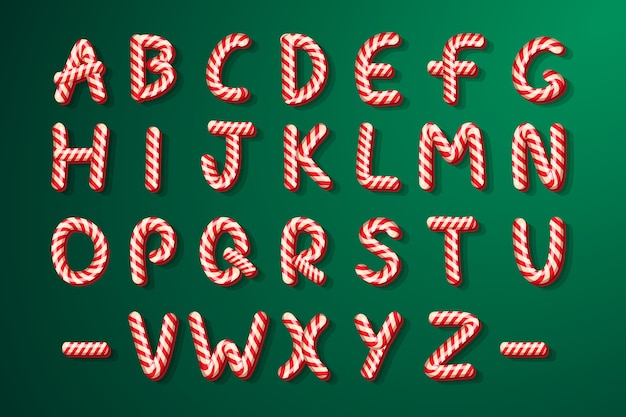 Candy cane alfabeto di natale lettere di caramelle per le vacanze