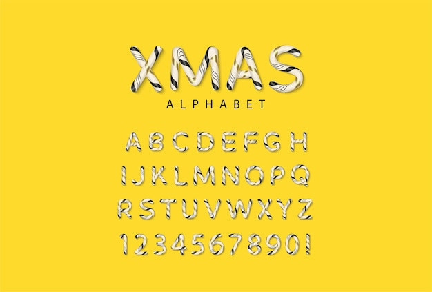 Alfabeto di natale candy cane con lettere e numeri