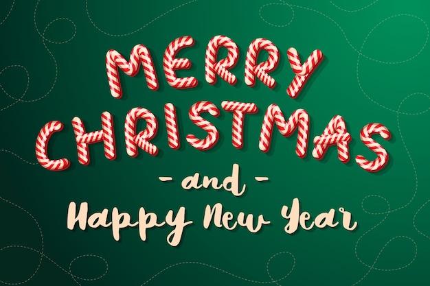 Canna di caramella merry christmas lettering candy lettere auguri di buone vacanze