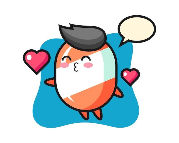 Cartone animato di carattere candy con gesto di baciare