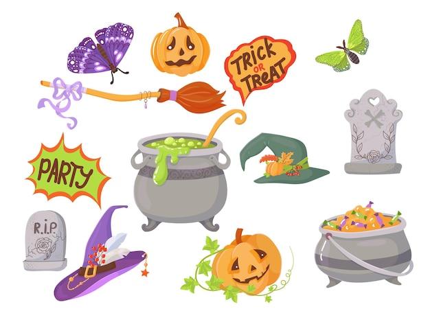 Caramelle, costumi, oggetti magici e raccapriccianti. un ampio set di elementi per la celebrazione di halloween. illustrazione vettoriale isolato su sfondo bianco.