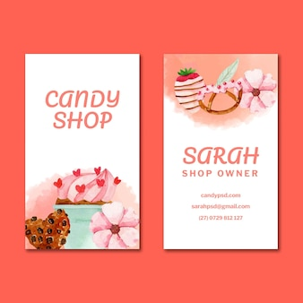 Modello di biglietto da visita verticale bifacciale candy