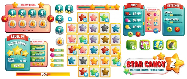 Candy games ui assets