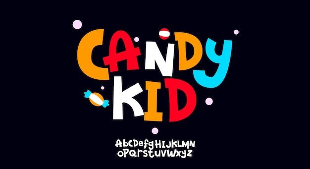 Candy kid, carattere alfabeto scritto a mano giocoso astratto. carattere tipografico