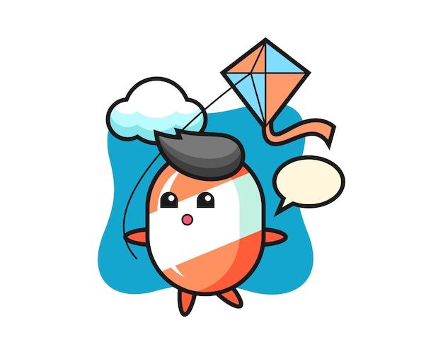 L'illustrazione della mascotte di candy sta giocando l'aquilone