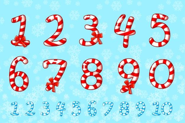 Set di numeri di caramelle.