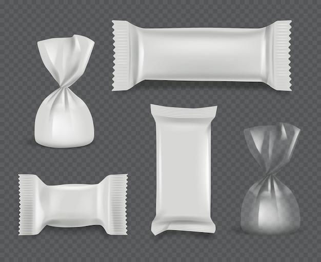 Pacchetto di caramelle. confezione lucida di involucri di carta realistici per dolci al cioccolato