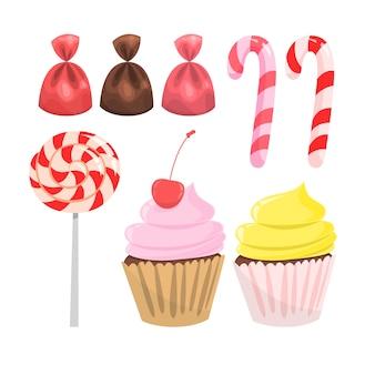 Set di caramelle. raccolta di dolci da dessert. lecca-lecca