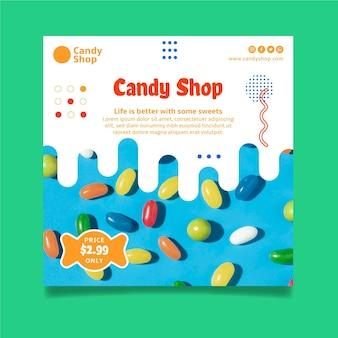 Modello di volantino del negozio di caramelle