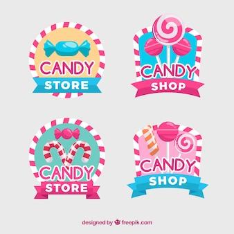 Collezione di loghi del negozio di caramelle per le aziende