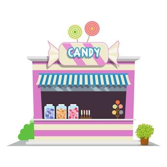Negozio di caramelle. icona di negozio nel design di stile piano