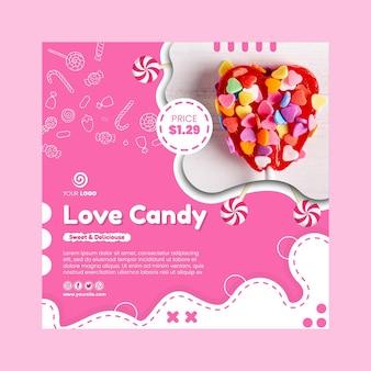 Modello di volantino quadrato del negozio di caramelle