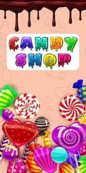 Candy shop, dolce bonbon diverso, lecca-lecca, cioccolato, gelatina. menu modello per caffè, caffettiera, illustrazione vettoriale, stile cartone animato, orientamento verticale isolato banner poster