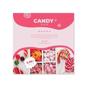 Modello di volantino quadrato di caramelle